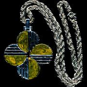 Modernist Signed TRIFARI Chromed Bakelite Pendant Necklace
