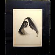 1941 Al Hirschfeld Harlem Lithograph 748/1000 EBONY SISTER Nun