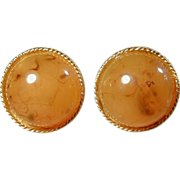 Vintage HOBE Lucite Applejuice Dome Clipback Earrings