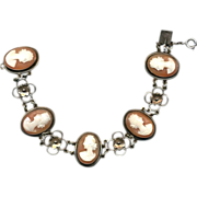 Carved Shell Cameo Cameos Sterling Silver Bracelet c1920s