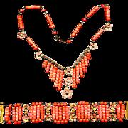 Fabulous c1930 CZECH Necklace Bracelet Set - Glass Enamel & Gilt