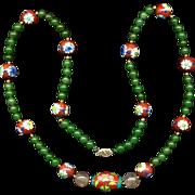 Estate Chinese Necklace - Jade & Enamel Cloisonne Beads w/ 14K Gold