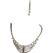 Vintage KRAMER Icy Clear Rhinestone Necklace w/ Bonus Pieces