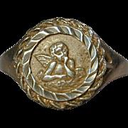 Vintage Sterling Silver Ring w/ Angel