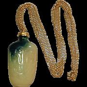 Kenneth J. Lane Faux Green Jade Snuff Bottle Necklace KJL