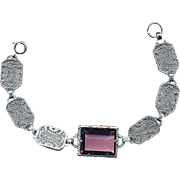 Art Deco 1930s Rhodium Filigree Bracelet w/ Big Amethyst Glass