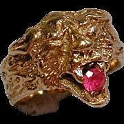 Victorian 14K Solid Gold LION CAT Ring w/ Garnet