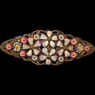 Victorian Stamped Brass Flower Pin w/ Enameled Flowers