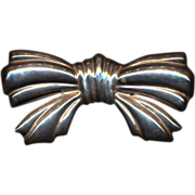 Big Sterling Silver Taxco Mexican BOW Pin or Pendant