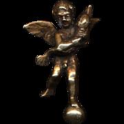 Vintage Italian Bronze Letter Opener ANGEL w/ Dolphin Signed