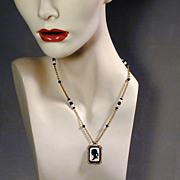 c1930s Czech Glass Black & White SILHOUETTE Cameo Pendant Necklace