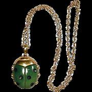 Crown Trifari Lucite Lady Bug Pendant Necklace 1960s