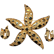 Vintage CORO Big Starfish Pin Brooch w/ Matching Earrings