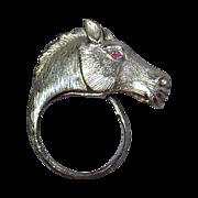 Vintage Sterling Silver HORSE Head Figural Ring