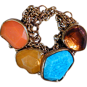 Great Big Chunky Lucite Cabochon Bracelet - Colors - Vintage