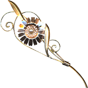 Long Tall Vintage VAN DELL Gold-Filled Sterling Flower Pin Brooch