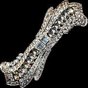 Vintage 1930s Art Deco Coro Duette Rhinestone Brooch Pin Clips