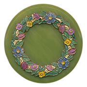 Large Green Round Bakelite Pin w/ Enamel Wreath Laurels