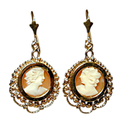 Estate 14K Gold Carved Cameo Shell Dangle Earrings