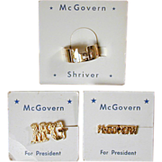 Set of 1972 George McGovern Jewelry on Cards Ring - Tacs