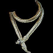 Vintage Snake Silver-Tone Mesh Necklace Belt