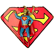 1978 DC Comics SUPERMAN Enamel Pendant Necklace w/ Orig. Header