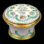 1990 Halcyon Days MOTHER'S DAY Enamel Pill Box Ltd. Ed.