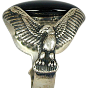 Impressive Sterling Silver Black Onyx Ring w/ Eagle Sides