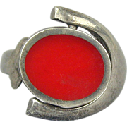Modernist Sterling Silver 2-Sided Ring Flips Onyx to Carnelian
