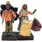 SOLD Vintage Black Americana Folk Art Dolls Southern Cotton Pickers - Red Tag Sale Item
