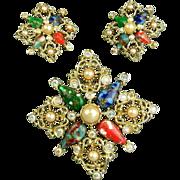 Vintage Rhinestone Sarah Cov Pin / Pendant - Earrings Set