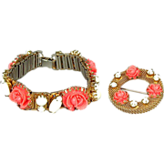 Vintage Faux Coral White Milk Glass Bracelet & Pin Set
