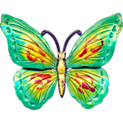 Vintage HOLLYCRAFT Enamel Painted Butterfly Pin