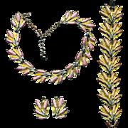 Enamel Floral Rods Parure Set Necklace Bracelet Earrings