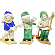 Set of Vintage Porcelain Skiing Children Hand-Painted