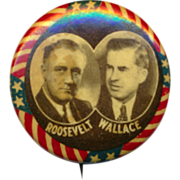 SOLD Original c1940 Political Campaign Pin FDR - WALLACE Jugate - Red Tag Sale Item