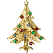 Crown Trifari Merry Rhinestone Christmas Tree Pin