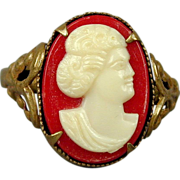 Old 1920s Czech Glass in Brass Cameo Girl Ring