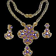 Hollycraft Demi Parure Rhinestone Pendant Necklace - Earrings