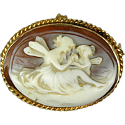 14K Gold Angel Lady & Cherub Carved Shell Cameo Pin - Pendant