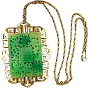 Vintage VENDOME Chinese Series Faux Jade Pendant Necklace Large Signed
