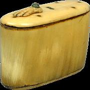 Victorian 19th Century Ox Horn Snuff Box w/ Hand Slide Lid