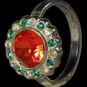 Art Deco Era Rhinestone Perfume Cocktail Ring
