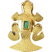 Estate 18K Gold Frog Pin Brooch w/ Emerald Columbia