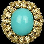 Vintage CINER Rhinestone Cocktail Ring Big Glass Turquoise