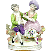 Vintage Sitzendorf Germany Porcelain Couple Figurine - Naughty Boy