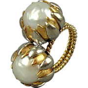 Estate Huge 14K Gold Twin 15mm Pearl Cocktail Ring 25.7 Grams