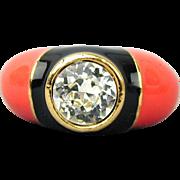 Vintage D'ORLAN Enamel Faux Diamond Ring - Adjustable - Bold