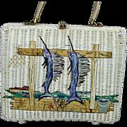 Vintage Midas Of Miami Wicker Basket Handbag w/ Art Fish