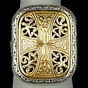 Vintage Gerochristo 18K Gold - Sterling Silver Ring Byzantine Style Beauty